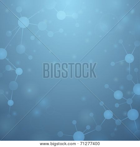 Blue Background With Molecules