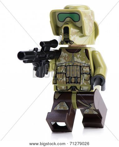 Ankara, Turkey - April 23, 2014: Lego Star Wars 41st Elite Corps Trooper minifigure isolated on white background.