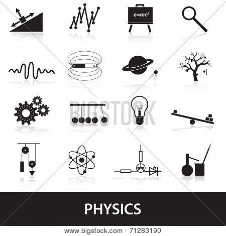 16 black simple physics icons set eps10 poster