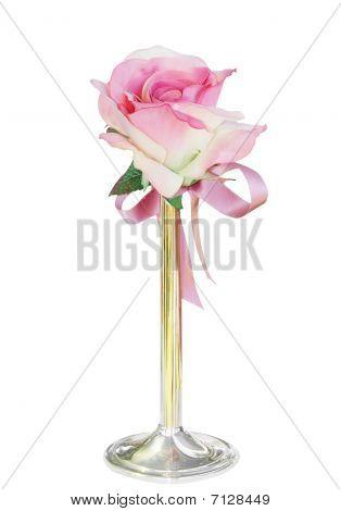 Single Silk Rose In Vase