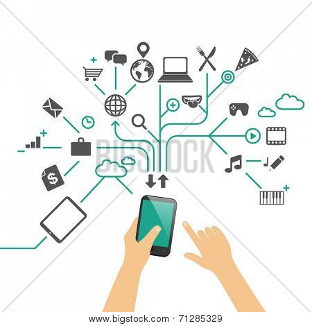 Hands holding phone, using different apps - flat design infographic vector illustration / multitasking concept