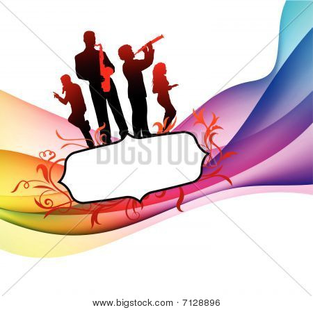 Live Band on Colorful Abstract Background Original Vector Illustration poster