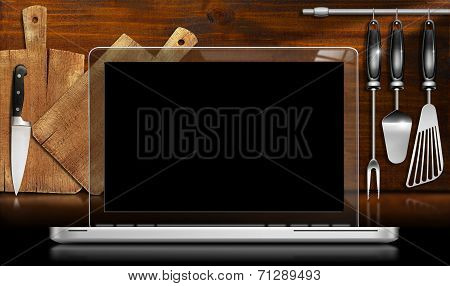 Laptop Computer In The Kitchen
