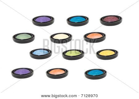 Nine Colored Eyeshadows Isolated In White