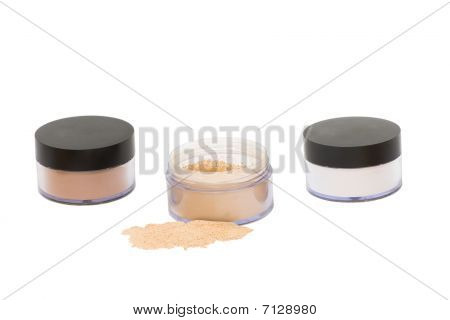 Three  Jars With Beauty Powder Isolated
