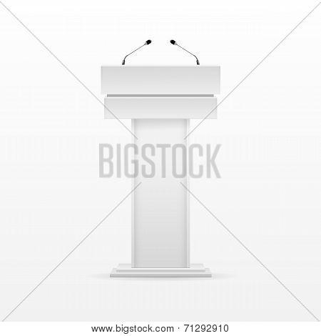 White Podium Tribune Rostrum Stand with Microphone