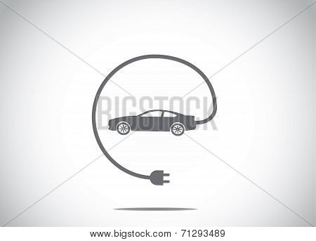 Colorful Electric Hybrid Car With Charger Plug Connected Concept Icon Symbol. Dark Colored Car