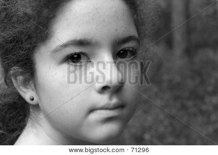 Intense Young Girl B&W