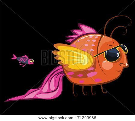 cartoon characters, cool fish wearing sunglasses and small one poster