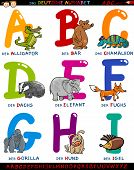 Cartoon Illustration of Colorful German or Deutsch Alphabet Set with Funny Animals from Letter A to I poster