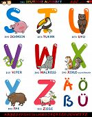Cartoon Illustration of Colorful German or Deutsch Alphabet Set with Funny Animals from Letter S to Z and Special Characters poster