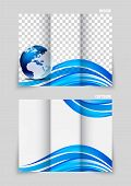 Tri-fold brochure template design with wavy blue lines poster