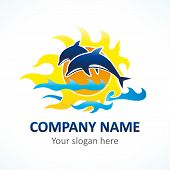 Dolphin, sea line and flame sunlight vector logo. Branding identity of tourist business, spa, beach service, resort or hotel by the sea. poster