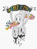 psychedelic Santa doodle poster