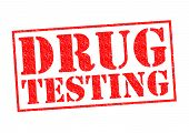 DRUG TESTING red Rubber Stamp over a white background. poster