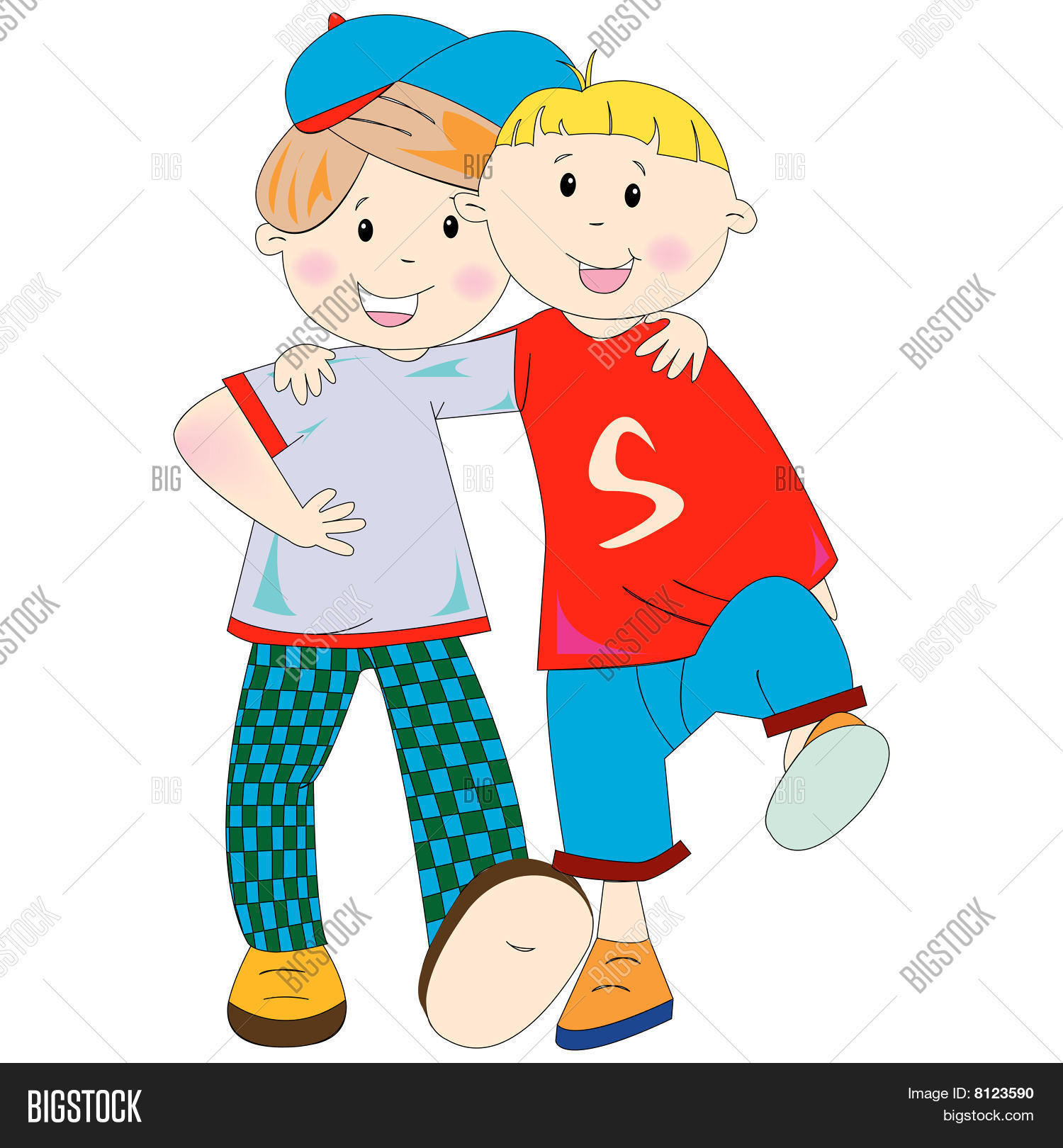 Best Friends Cartoon Vector & Photo (Free Trial) | Bigstock