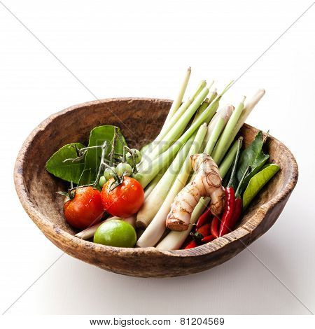 Ingredients For Spicy Thai Soup Tom Yam With Chili Pepper And Lemon Grass On White Wooden Background