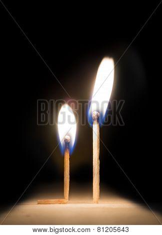 Burning Match Kneeling Before Match On Fire Metaphor