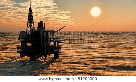 Oil rig  platform at sunset