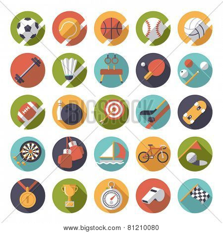 Circular sports icons flat design vector set. Collection of 25 flat design sports and gymnastics vector icons in circles.