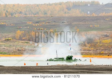 BTR-82A armoured personnel carrier in water