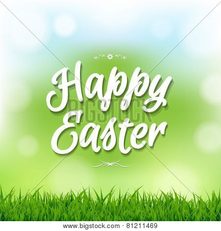 Happy Easter Card With Bokeh With Gradient Mesh, Vector Illustration