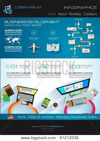 Modern website template with flat style infographics layout for your project. It includes laptop and mobile devices mockup, computers and desk supplies designs.