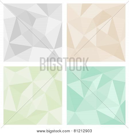 Grey, green and pastel beige tile triangle vector background or chevron surface pattern set