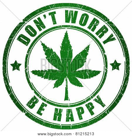 No worry, be happy rastaman stamp on white background poster