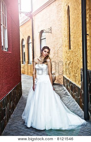 Young Bride In An Alleyway