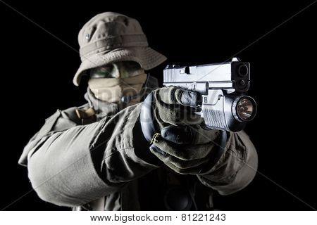 Jagdkommando soldier Austrian special forces with pistol on dark background poster