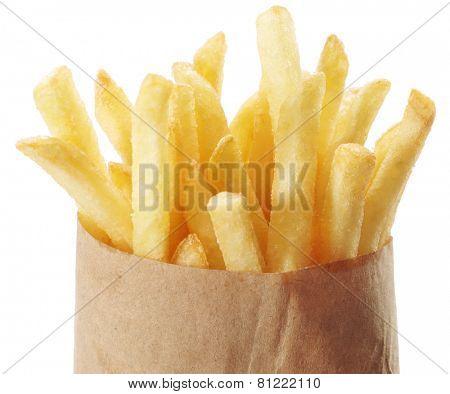 Potato - french fries on a white background. Takeaway food.