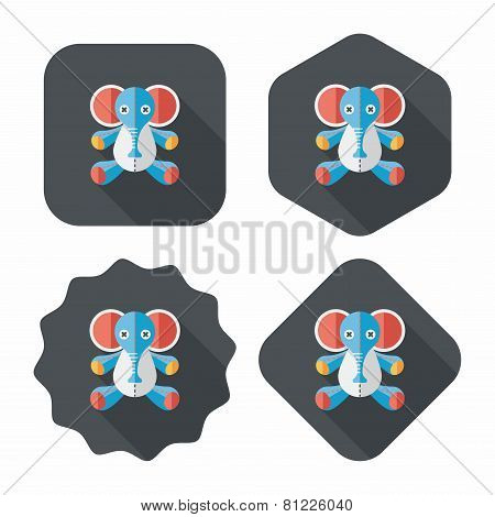 Elephant Doll Flat Icon With Long Shadow,eps10, Design elements for mobile and web applications, stylish colors of vector illustration. poster