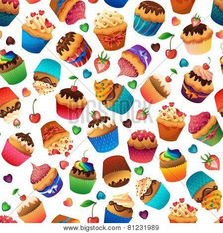 Super cupcake seamless pattern. Chocolate and vanilla desserts