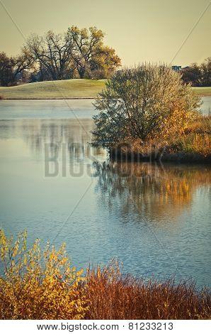 Beautiful Lake On A Cold Autumn Golf Course