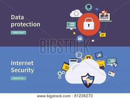 Set of flat design vector illustration concepts for data protection,and internet security.