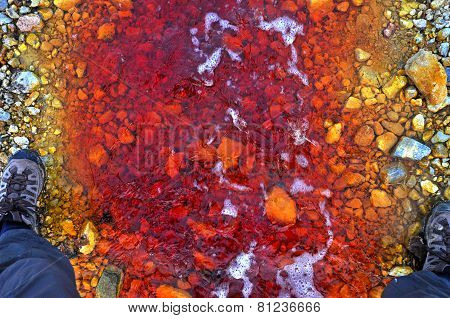 Red Polluted Water Stream In Geamana, Romania