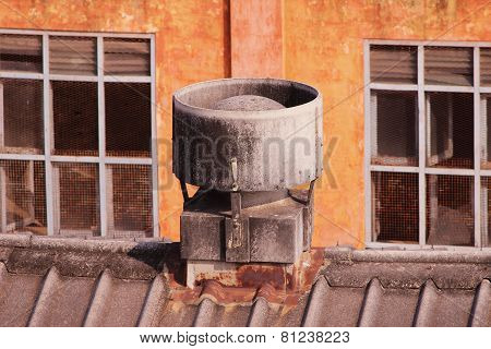 Industrial Exhaust Fans on red color Olden bricks factory