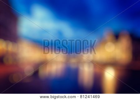 Defocused blurred background of european city Ghent, Belgium