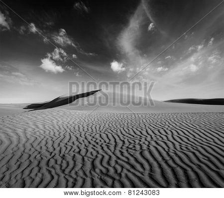 Dunes of Thar Desert. Sam Sand dunes, Rajasthan, India. Black and white version