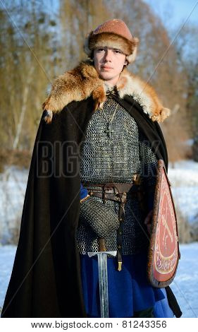 Old Russian Warrior Historical Reconstructor young man
