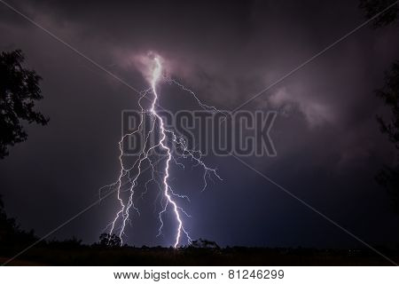 Cloud to ground lightning strike