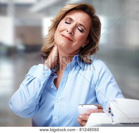 Business woman having a neck pain. Stress and depression