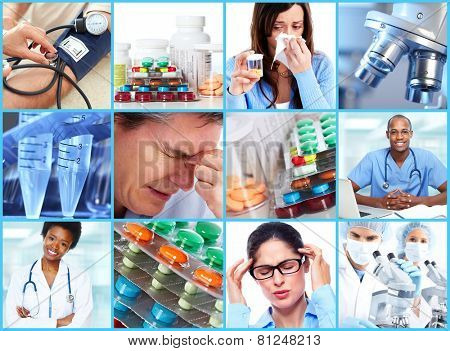 Medical health care collage. People having migraine headache.