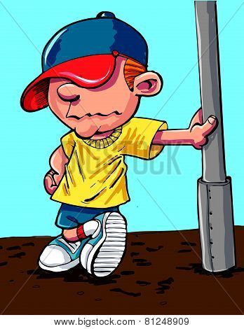 Cartoon cool kid with a baseball cap