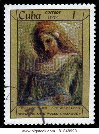 Head Of A Woman By Artist F. Ponce De Leon