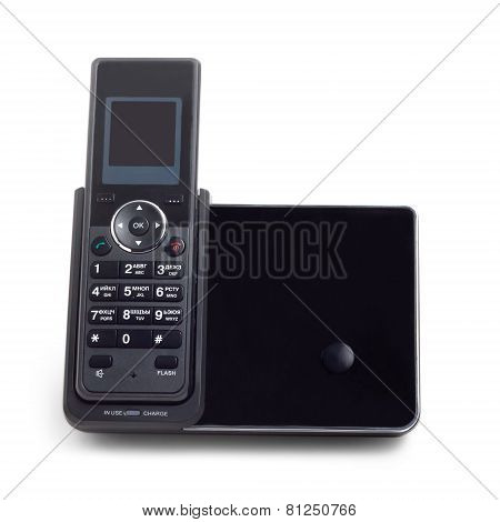 black wireless cordless phone isolated on  white background poster