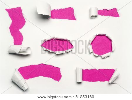 pink torn paper
