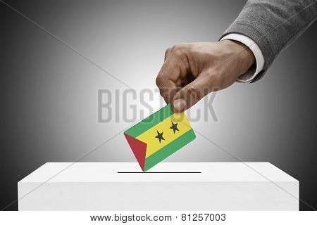 Black Male Holding Flag. Voting Concept - Democratic Republic Of Sao Tome And Principe