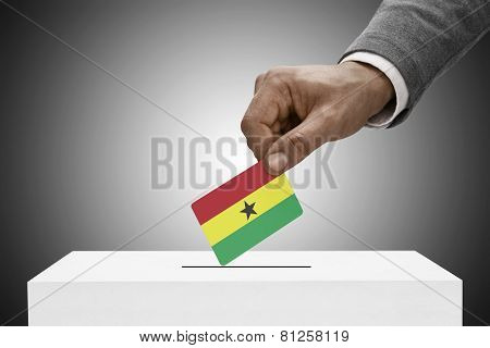 Black Male Holding Flag. Voting Concept - Ghana